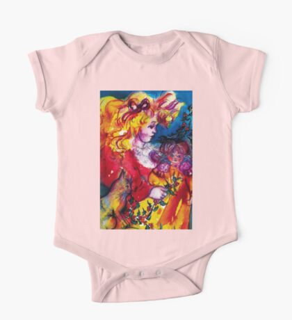 LITTLE GIRL WITH CHRISTMAS GIFTS , PRETTY DOLL AND CAT   One Piece - Short Sleeve
