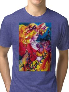 LITTLE GIRL WITH CHRISTMAS GIFTS , PRETTY DOLL AND CAT   Tri-blend T-Shirt