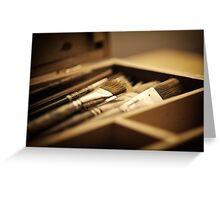 macro paintbrushes in paint box Greeting Card