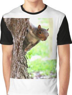 Squirrel Peeking Around A Tree Graphic T-Shirt
