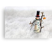 Christmas Snowman in Snow Canvas Print