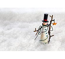 Christmas Snowman in Snow Photographic Print