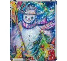 SNOWMAN WITH CHRISTMAS TREE, OWL AND TOYS iPad Case/Skin