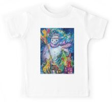 SNOWMAN WITH CHRISTMAS TREE, OWL AND TOYS Kids Tee