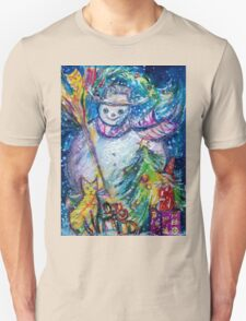 SNOWMAN WITH CHRISTMAS TREE, OWL AND TOYS T-Shirt