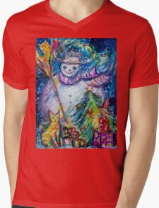 SNOWMAN WITH CHRISTMAS TREE, OWL AND TOYS Mens V-Neck T-Shirt
