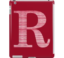 Letter R Red Watercolor Stripes Initial Monogram iPad Case/Skin