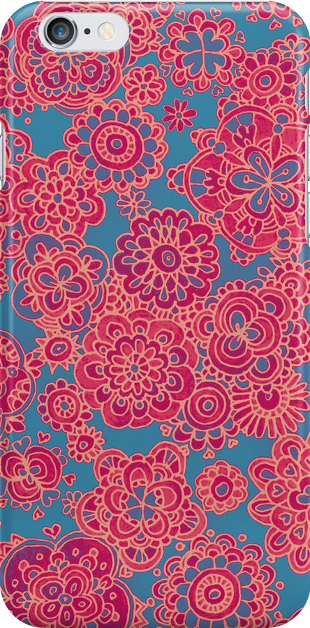 Flower Doodle iPhone case by micklyn