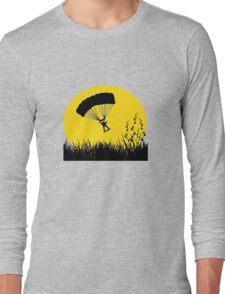 Silhouette - Army Parachute Man Long Sleeve T-Shirt