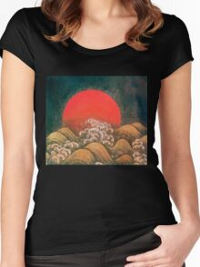 AMATERASU SUN GODDESS Red Black Brown Women's Fitted Scoop T-Shirt