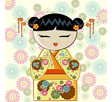 Yellow Kokeshi Photographic Print