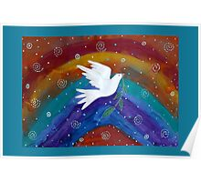Rainbow Peace Dove Poster