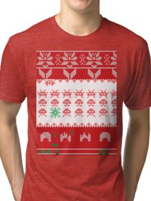 Merry Space Invaders! Tri-blend T-Shirt