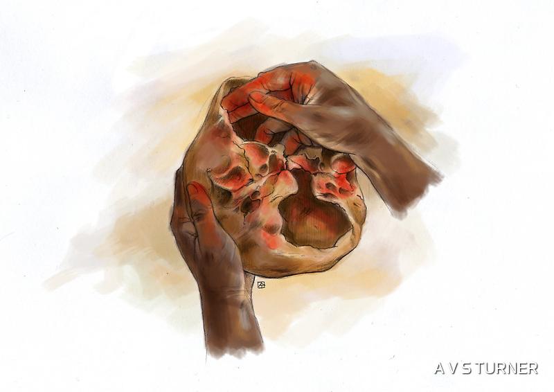 Homo sapiens treating skull with ochre (11 - 12,000 b.p.) by A V S TURNER