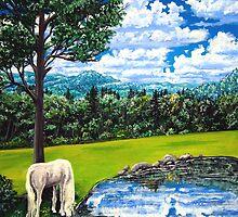 white horse named Sam by LoreLeft27