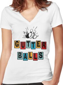 Funny Gutter Balls Bowling T-Shirt Women's Fitted V-Neck T-Shirt