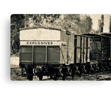 Vintage train carriage - explosives Canvas Print