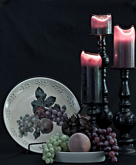 Fruit and Candles Still Life by Sherry Hallemeier