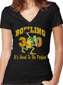 Funny Perfect 300 Bowling Game Bowling Dark T-Shirt Women's Fitted V-Neck T-Shirt