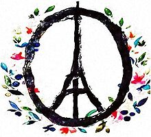 Pray for Paris flowers Sign peace and love by metaminas
