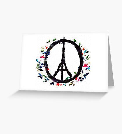 Pray for Paris flowers Sign peace and love Greeting Card