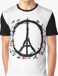 Pray for Paris flowers Sign peace and love Graphic T-Shirt