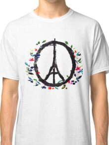 Pray for Paris flowers Sign peace and love Classic T-Shirt