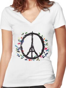 Pray for Paris flowers Sign peace and love Women's Fitted V-Neck T-Shirt