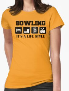 Eat Sleep Bowl Bowling T-Shirt Womens Fitted T-Shirt