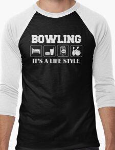 Sleep Eat Drink Beer Bowl Bowling T-Shirt Men's Baseball ¾ T-Shirt