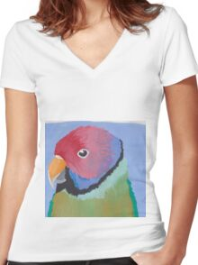 Plum-headed Parrot Painting Women's Fitted V-Neck T-Shirt