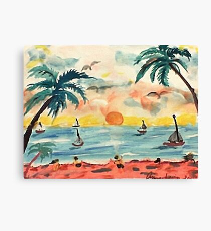 Revised, seascape with sailboats at sunset, watercolor Canvas Print