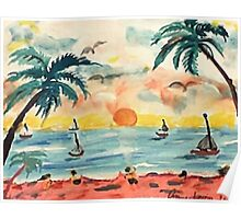 Revised, seascape with sailboats at sunset, watercolor Poster