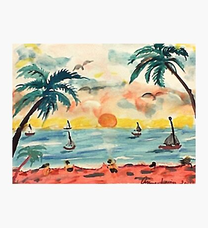 Revised, seascape with sailboats at sunset, watercolor Photographic Print