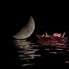 boat and the moon reflected on the waves by guido nardacci