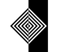 Concentric Black and White Diamonds Photographic Print