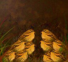 Ten Sparrow's sitting in a Field. by Forfarlass