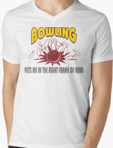 Funny Bowling T-Shirt Mens V-Neck T-Shirt