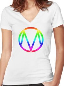 The Maine - Band  Logo Rainbow Women's Fitted V-Neck T-Shirt