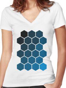 Blue Hexagons Women's Fitted V-Neck T-Shirt