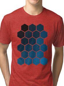 Blue Hexagons Tri-blend T-Shirt