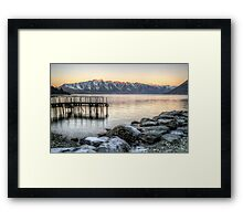 Jetty on Lake Wakatipu, Queenstown, New Zealand Framed Print