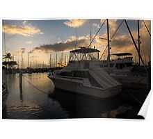Lines, Masts and Clouds - Ala Wai Boat Harbor, Waikiki, Honolulu, Hawaii  Poster