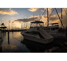 Lines, Masts and Clouds - Ala Wai Boat Harbor, Waikiki, Honolulu, Hawaii  Photographic Print