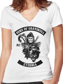 SONS OF GRAYSKULL!! Women's Fitted V-Neck T-Shirt