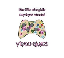 Floral video game controller Photographic Print