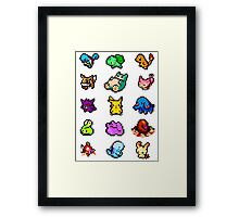 Pixel Pokemon sticker pack Framed Print