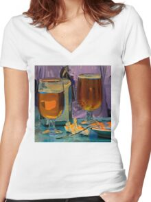 Beer and Tapas at Bar Peri Women's Fitted V-Neck T-Shirt