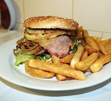 Hamburger and chips. by Steven Cousley