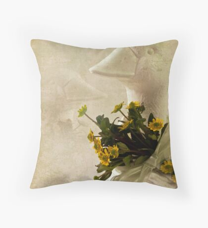 Duck And Yellow Daisy Birthday Card  Throw Pillow